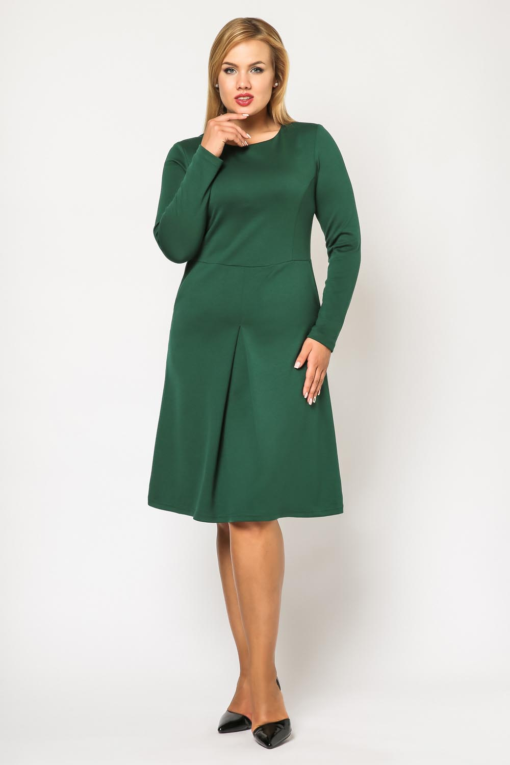 Green seam midi length plus size dress with long sleeves