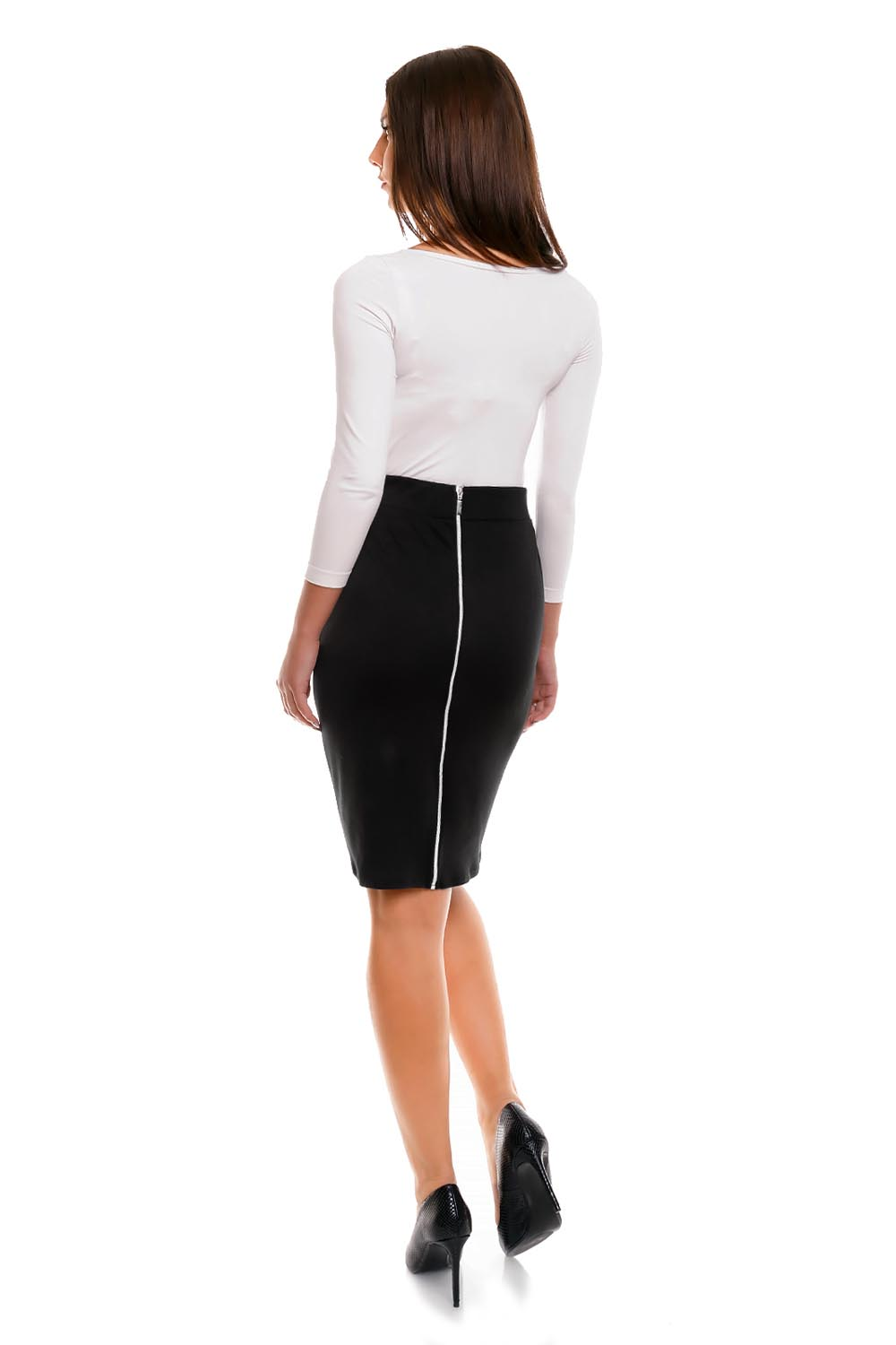 Navy Pencil Skirt with Back Zipper Fastening