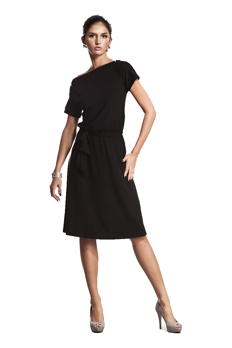 a28ee06930f Black Bateau Neck Self Belted Shift Dress