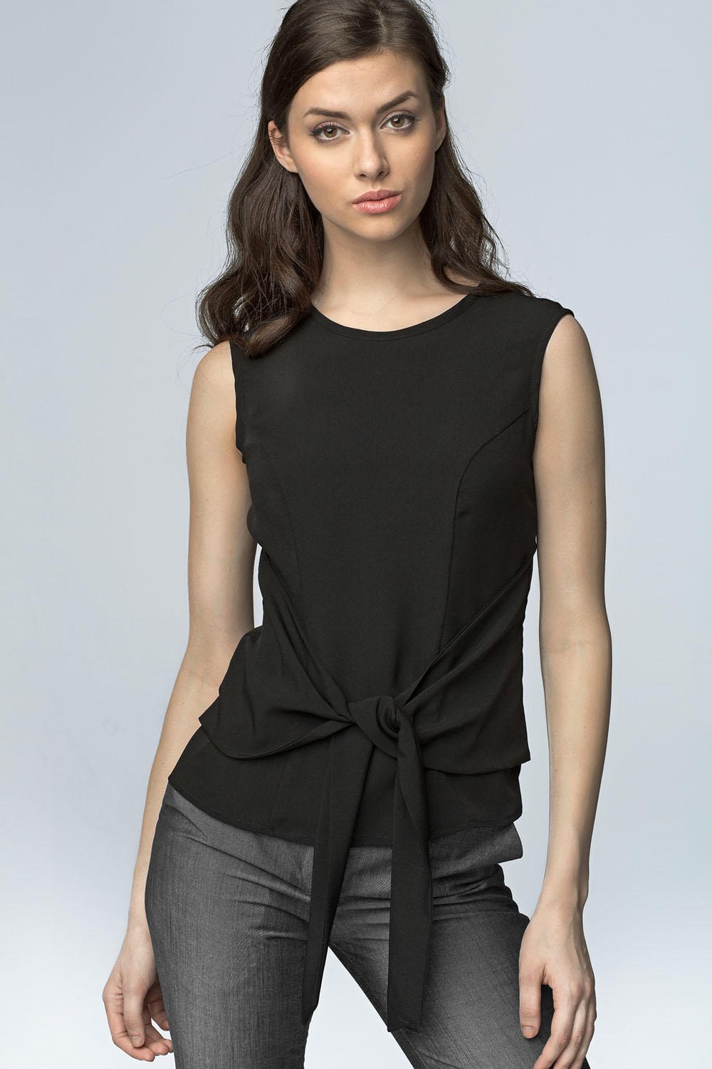 a64fbd9be08 Black Elegant Blouse with Bow Tie Waist