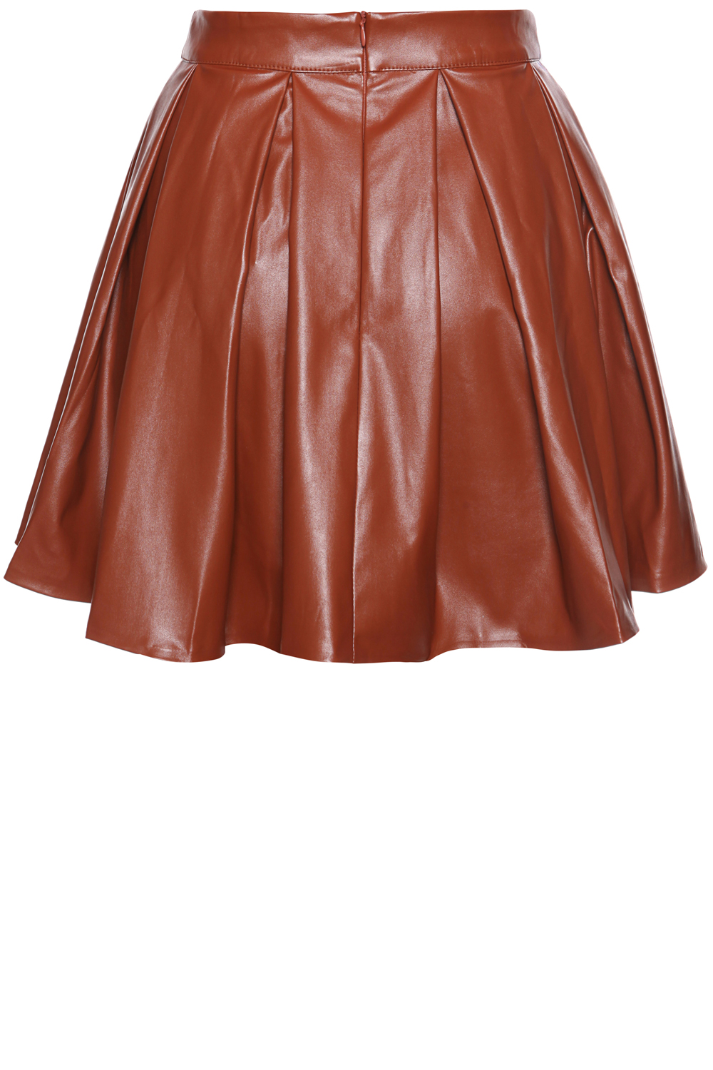 Brown Leather Pleated Skirt with Back Seam Zip Fastening