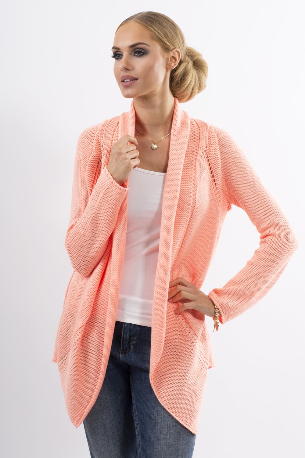 Knitting Pattern Cardigan Shawl Collar : Apricot Shawl Collar Ladies Cardigan with Eyelet Knit Pattern