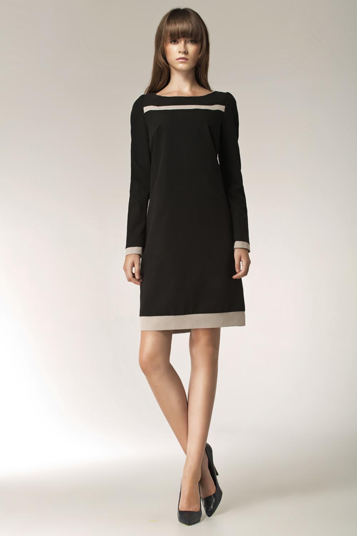 black stylish sunken office shift dress