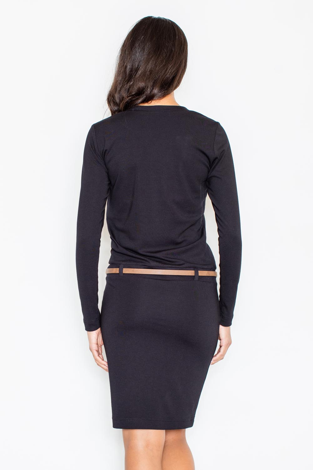 black shift dress with waist belt