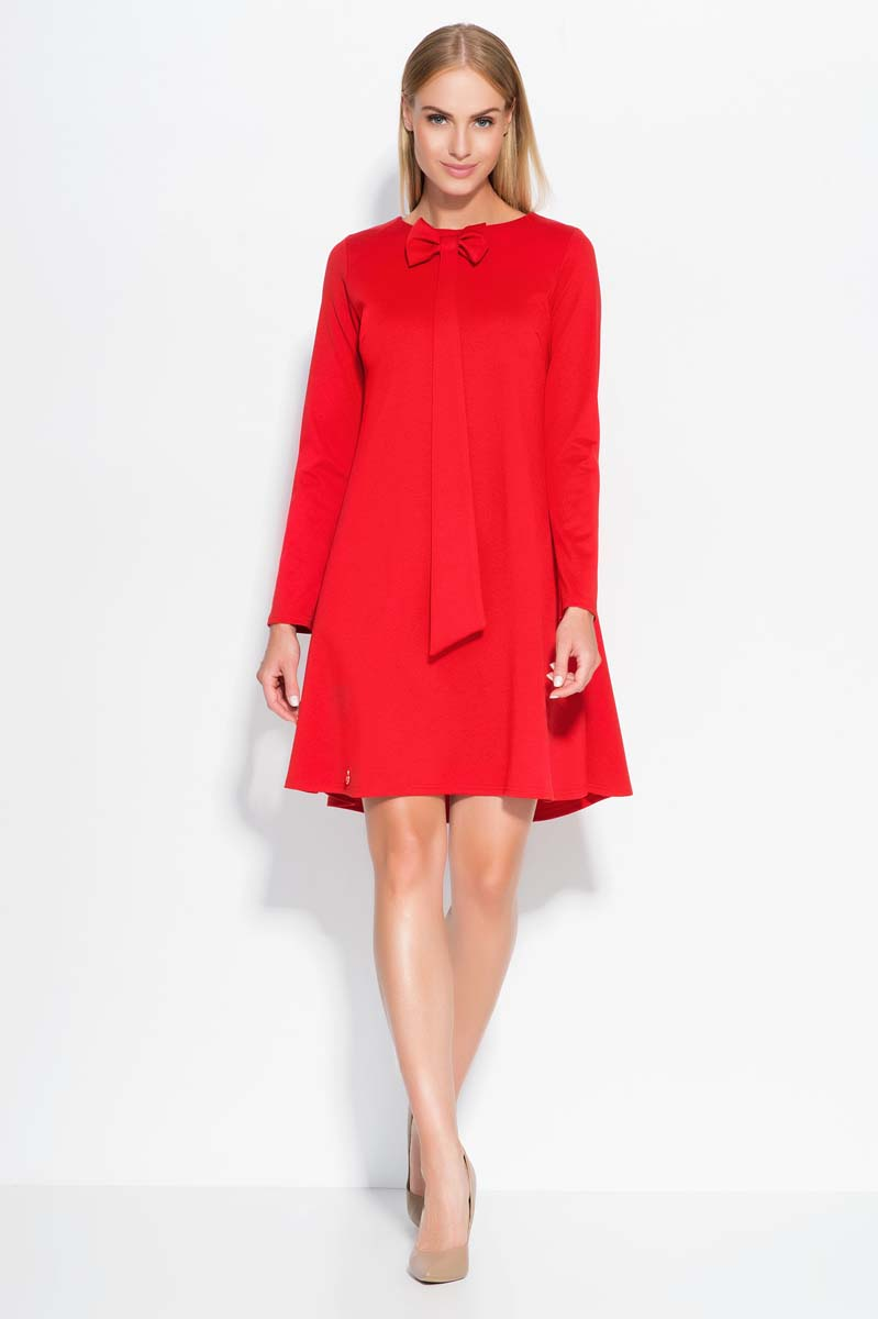 Red A Line dress with bow neckline