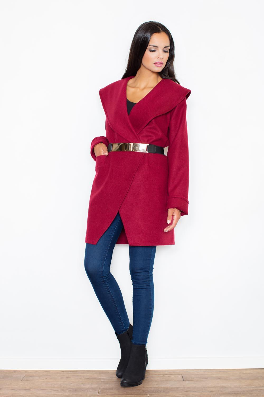 Cape Collar Maroon Wrap Around Coat With Shimmer Waist Belt