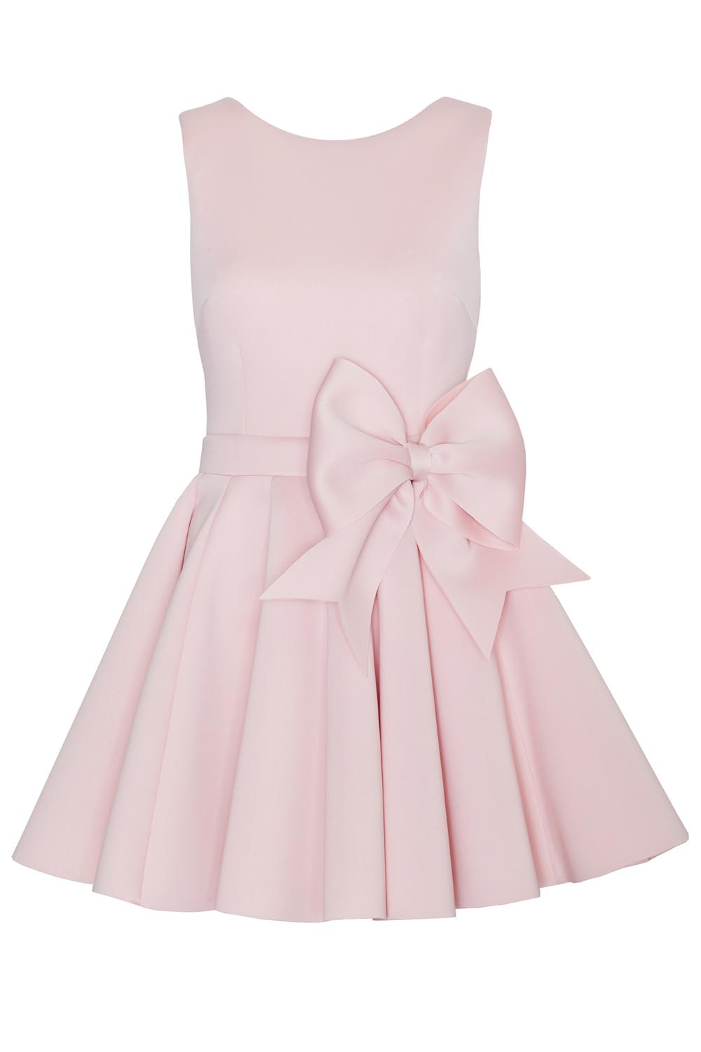 pink pleated dress with bow belt