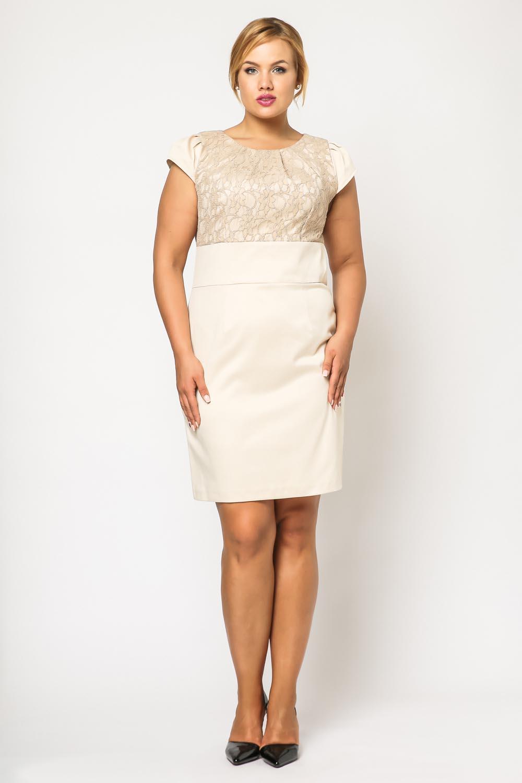 Cream floral lace bodice dress plus size