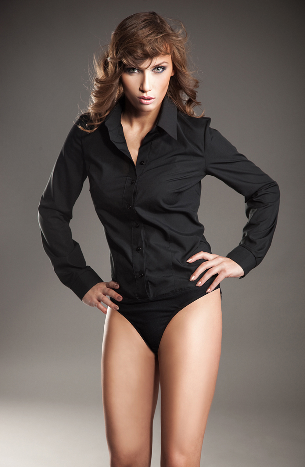 3eadeb044601 Collared Black Shirt Bodysuit with Front Button Fastening