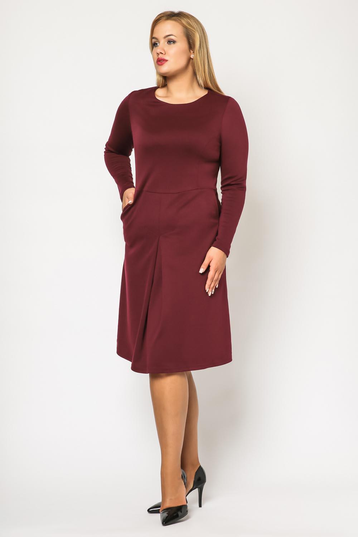 Maroon seam midi length plus size dress with long sleeves