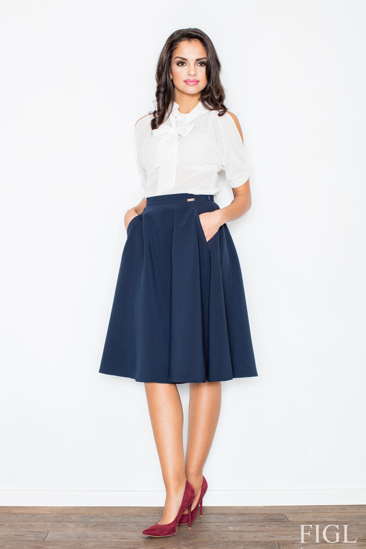 blue midi length pleated skirt with belt