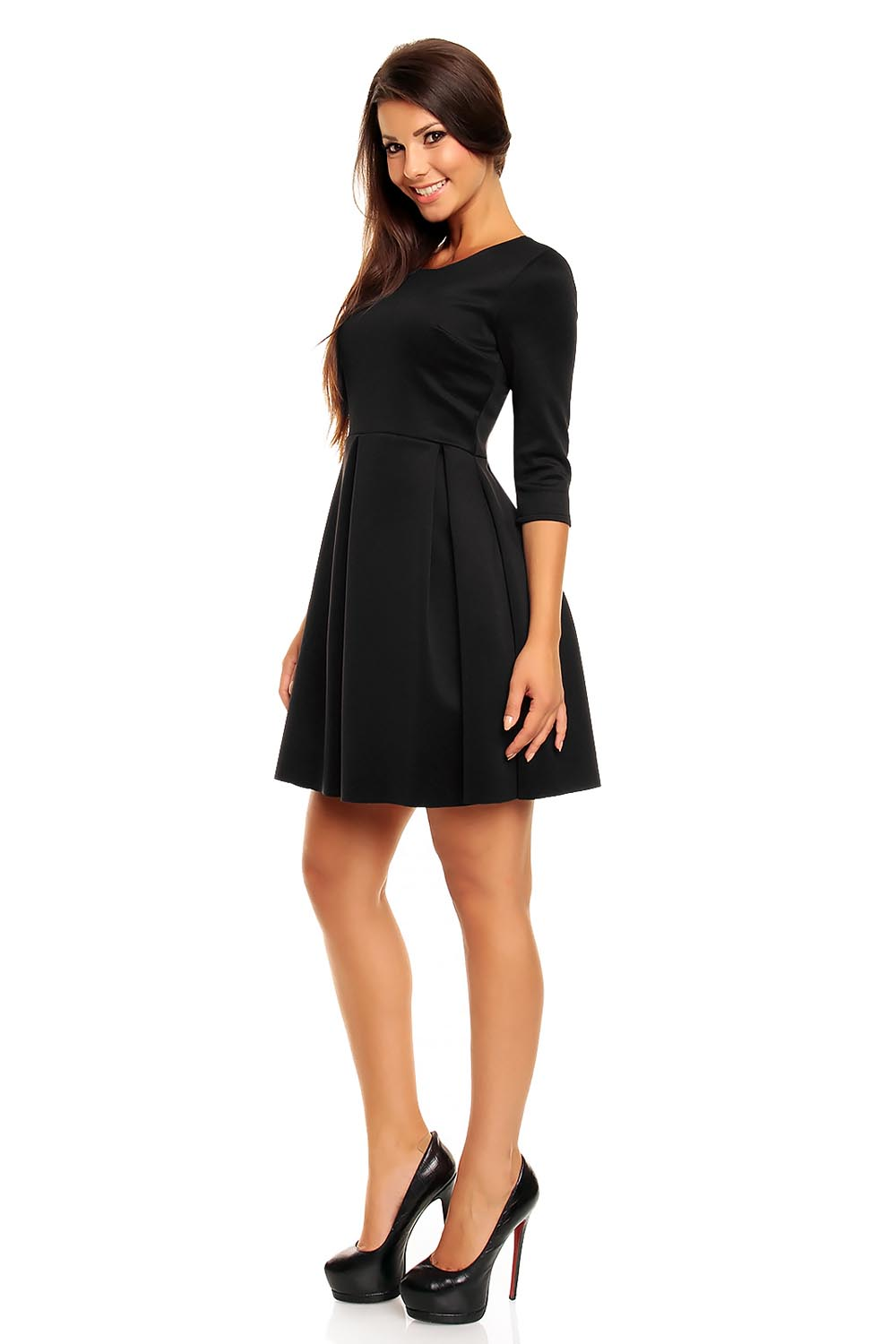 Black modern cut skater knee length dress