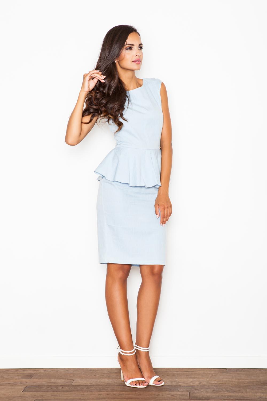 sleeveless light blue peplum dress with pencil skirt
