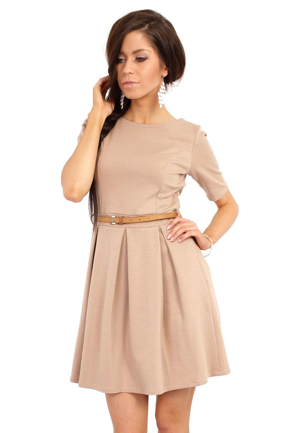 Home dresses coffee magnanimous modern belted tea length dress