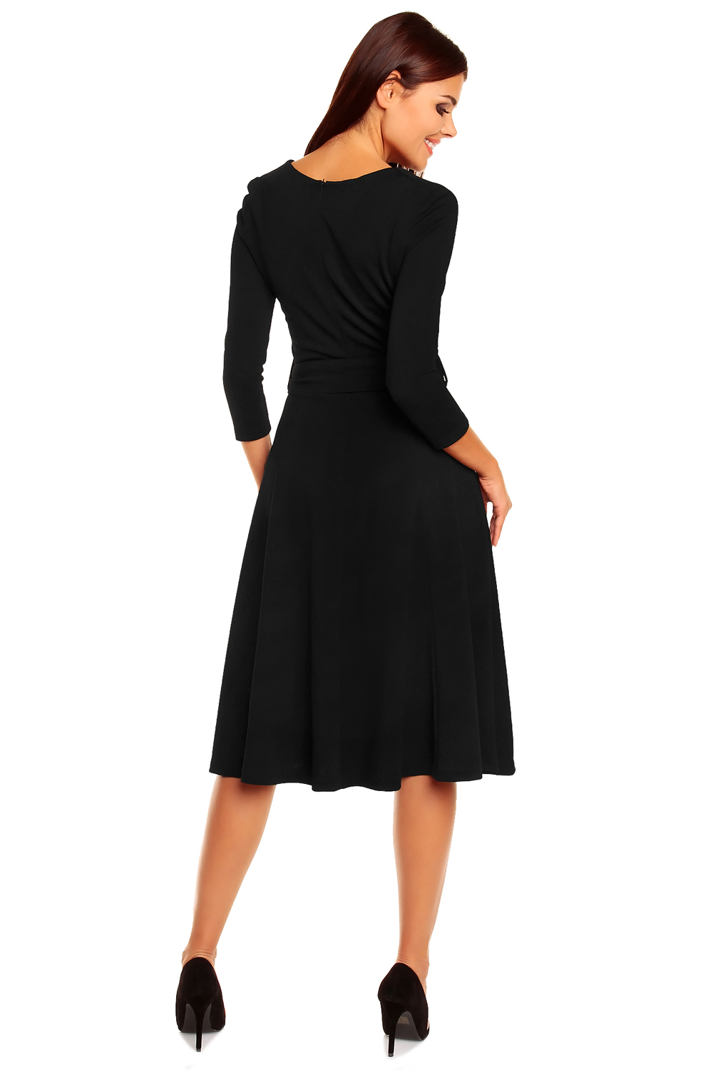 black pleated dress with loop belts