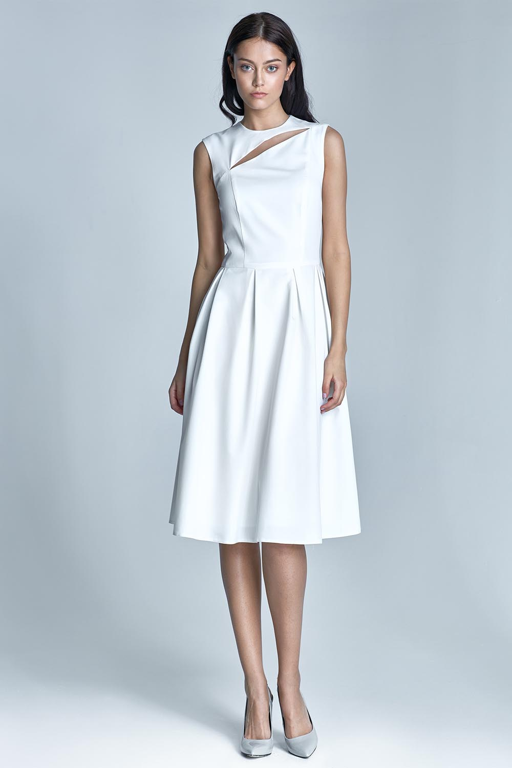 Off white pleated dress with cut out neckline