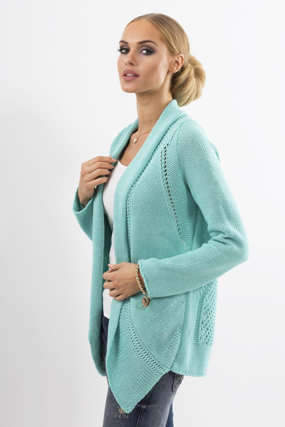Knitting Pattern Cardigan Shawl Collar : Mint Shawl Collar Ladies Cardigan with Eyelet Knit Pattern