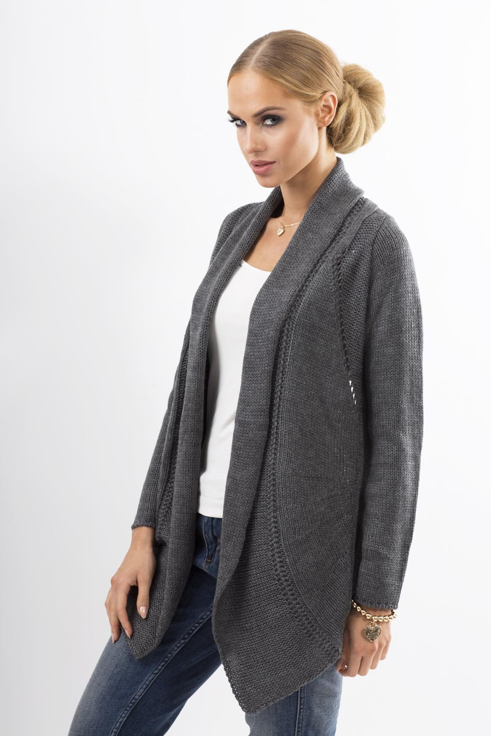 Knitting Pattern Cardigan Shawl Collar : Graphite Shawl Collar Ladies Cardigan with Eyelet Knit Pattern