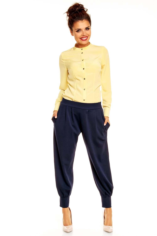 Yellow Mandarin Collar Button Down Shirt for Women