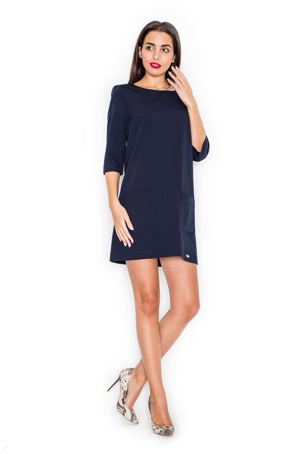 Long Sleeves Navy Blue Shift Dress