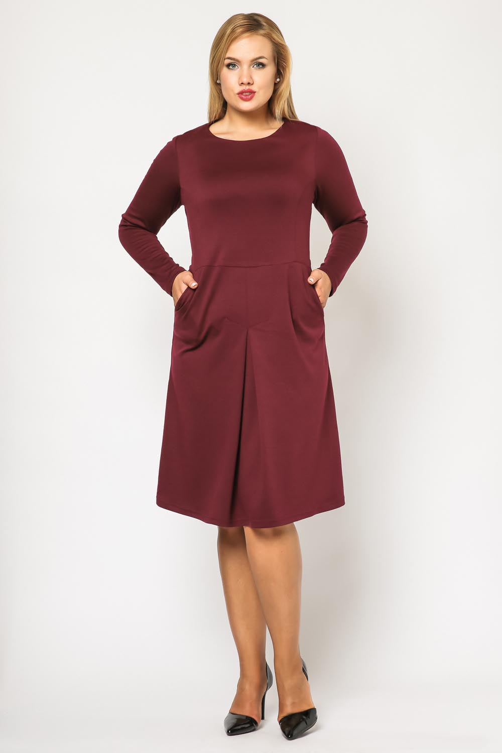 Maroon seam midi length plus size dress with long sleeves