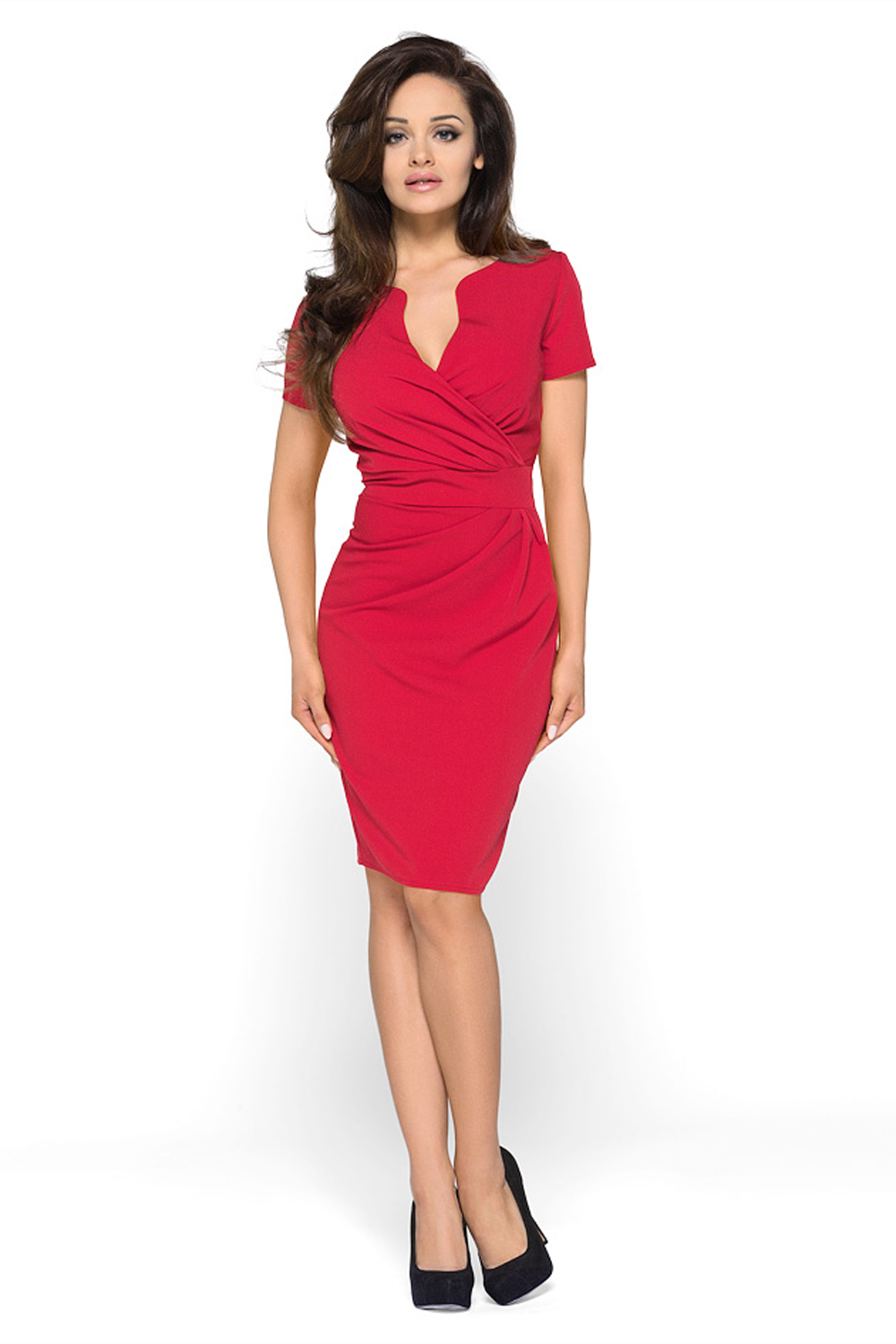 Home Dresses Wrap Around Self Belted Sheath Red Dress