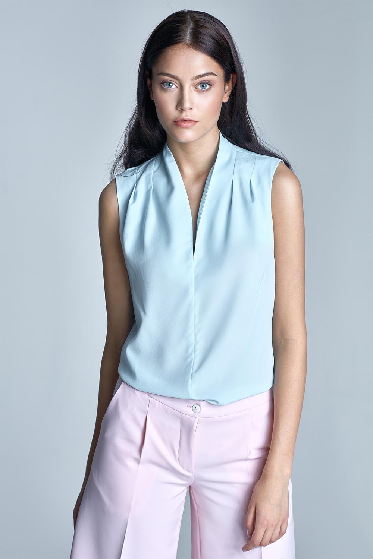 Light sky blue sleeveless blouse with drape neckline