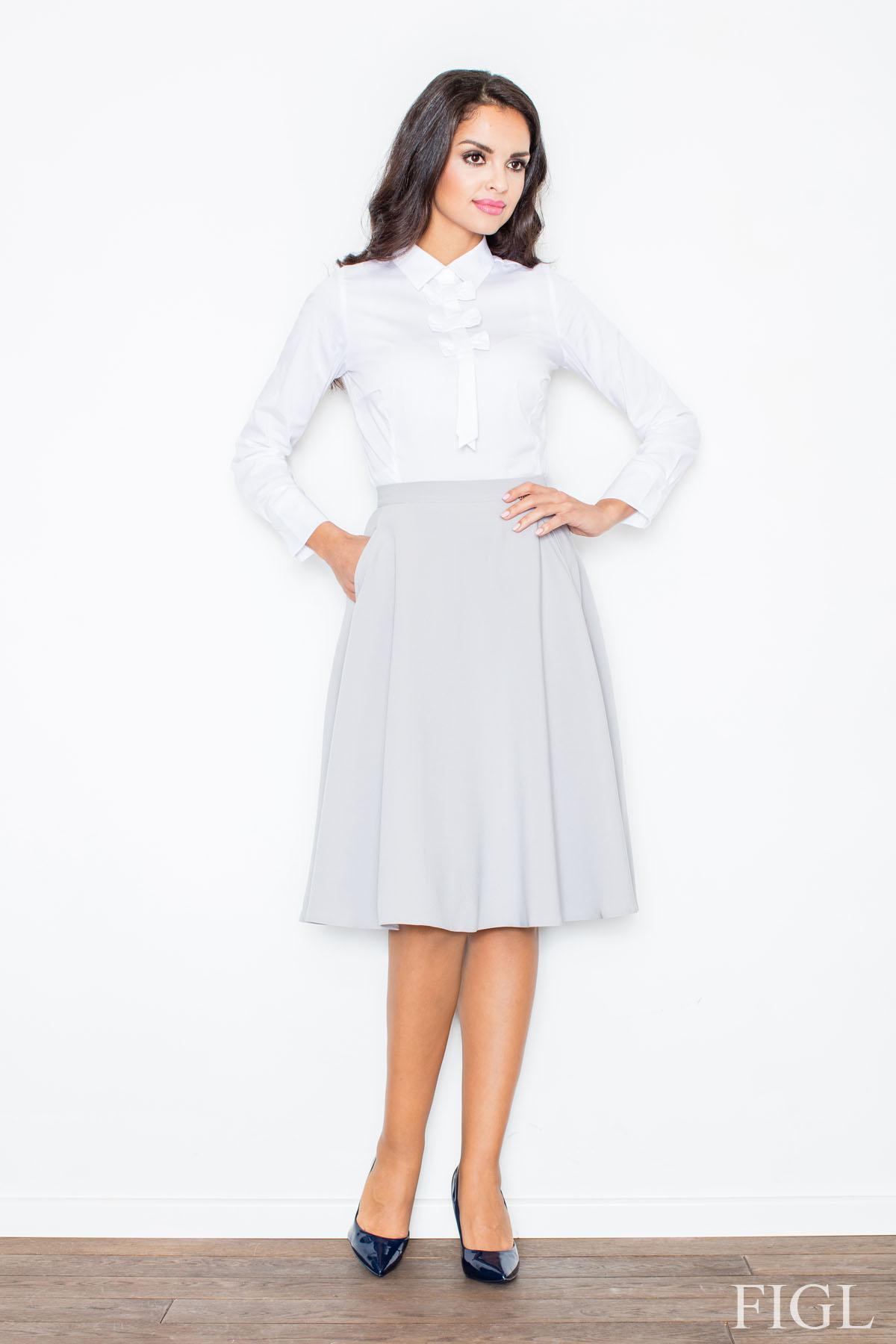 grey midi length pleated skirt with belt