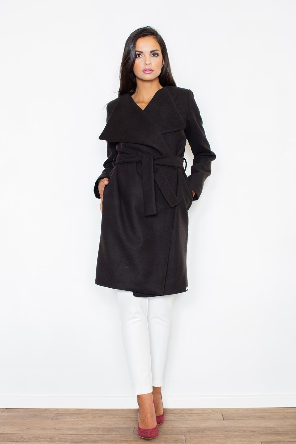 Oversized Double Breasted Black Coat with Self Tie Belt