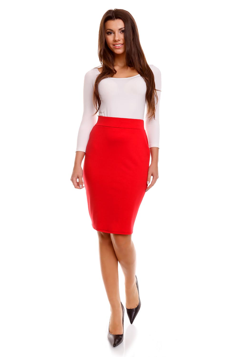 Red Pencil Skirt with Back Zipper Fastening