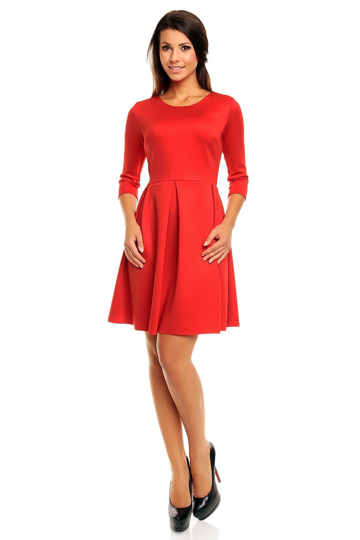 Red modern cut skater knee length dress