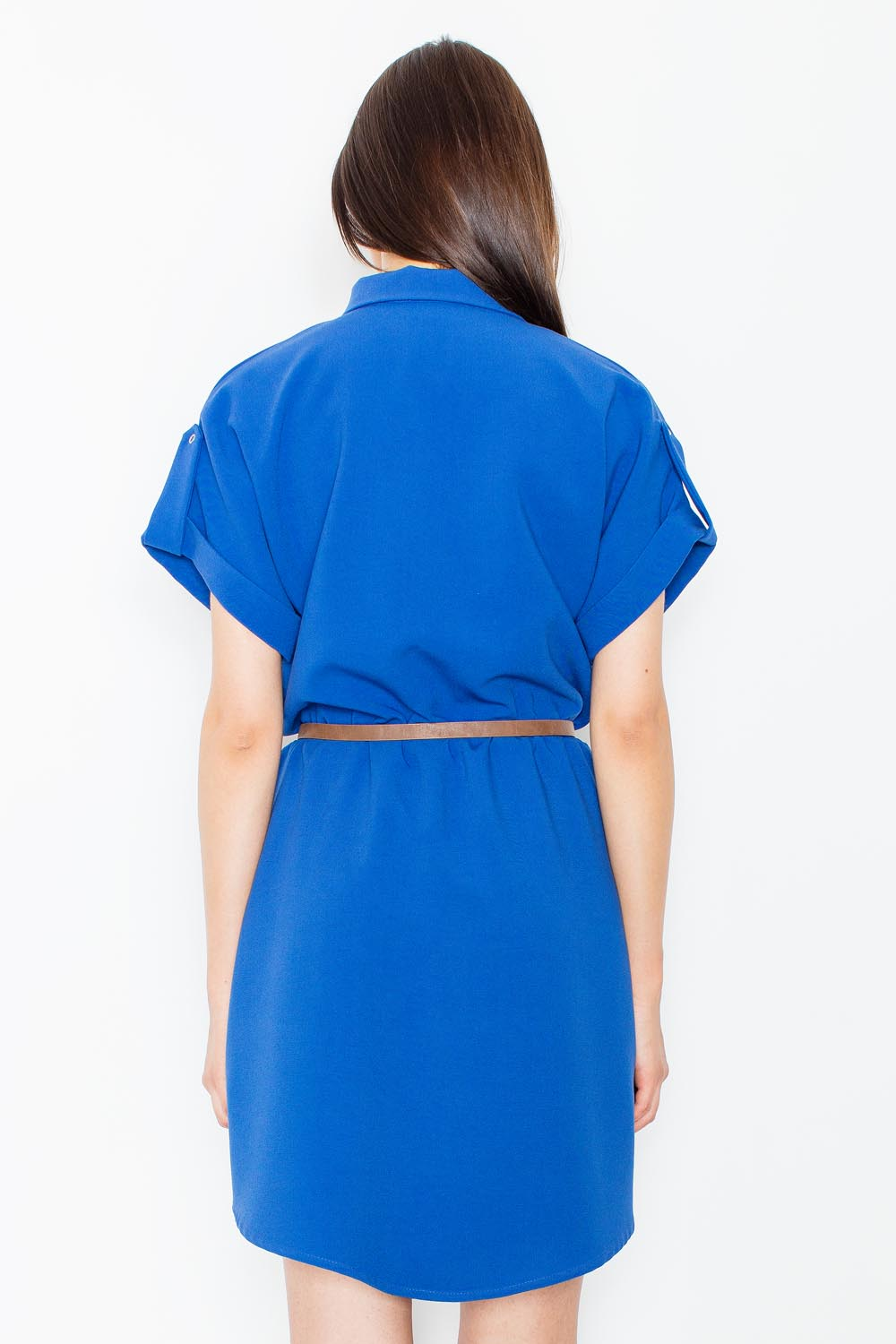 blue collared shirt dress with leather belt