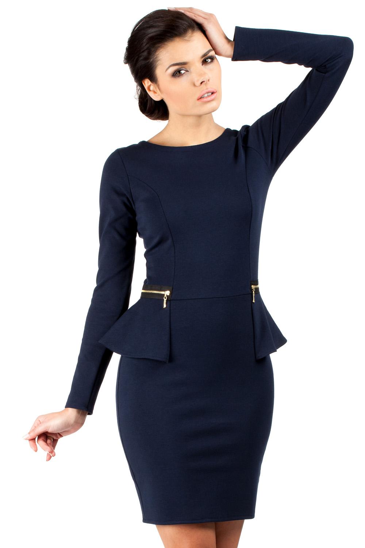 2a249b6bc17 Navy Blue Seam Shift Dress with Decorative Zipper Pockets