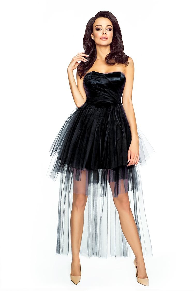bd0c60d475d6 Black Bandeau Prom Lace Dress